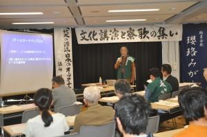 「文化講演」で熱弁をふるう藤田正一元北大副学長